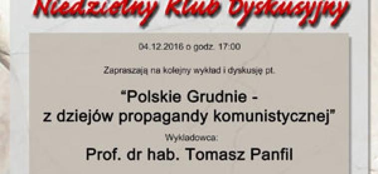 Niedziela (4 grudnia) godz.17:00 Wykład profesora Tomasza Panfila
